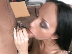 Exotic looking babe Jennifer Morante fills her mouth with a meaty hot cock