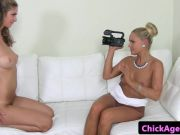 Lesbo agent pussylicked by auditioning euro