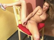 Sexy teen with curly hair gets pleasure on the kitchen