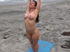 Gretchen naked yoga at the beach
