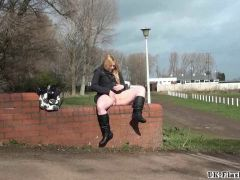 Blonde babes public masturbation and outdoor pussy flashing