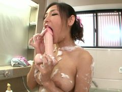Sweet babe lathers up for a steamy fuck session