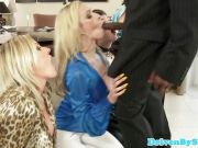 Euro babes love gagging on bbc and spitting cum