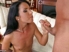 Jane loves to have moist cum dribble all down her mouth