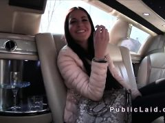 Euro babe bangs in limo for money
