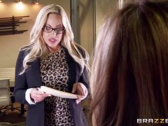 Lesbian office sex with Olivia Austin and Julia Ann