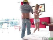 European teen rides him in reverse cowgirl