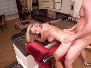 Hot blond cougar fucks young cock