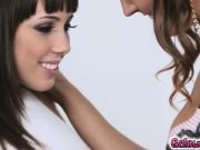 Val Dodds leans on Jenna Sativa for a passionate kiss