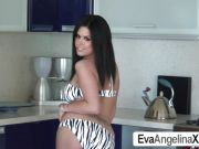 Sizzling Eva Angelina plays with her throbbing tits