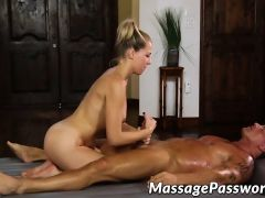 Oiled up blonde with tattoos gets hard strong dick in cunt