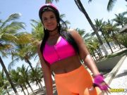 Rollerblading Latina beauty Aline Rios getting her ass smashed in