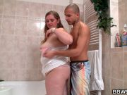 Skinny guy fucks fat girl in the bathroom
