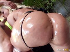 Busty blonde Alena Croft endures an oily anal fuck