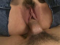 Dirty whore gets fucked and creamed by two guys
