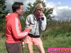 Hot blonde likes jogging and fucking