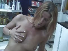 Kinky Blonde Sucks Cock And Balls In A Supermarket