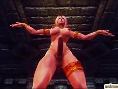Blonde Naked Shemale Strips and Danced Action