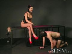Dominant mistress loves teasing subs hard cock