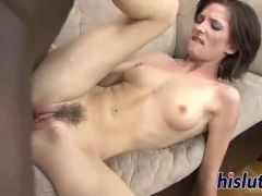 Interracial anal session with a brunette vixen