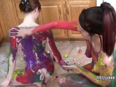 attooed redheads Indigo and Lavender get erotic with paint