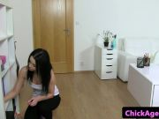 Les female agent seduces maid at casting