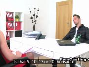 Male model bangs female agent in panties