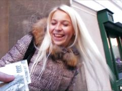 Platinum blonde Czech girl is picked up for cash