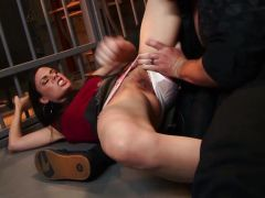 Pussy slamming angry beauty Mina Leigh in prison cell