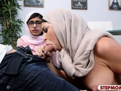 Two big juggs Arab women shared on hard man meat on sofa