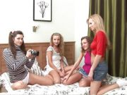 Foursome of teen babes in lesbian group sex