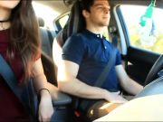 Blow job and masturbation in our car