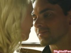 Tattooed blonde beauty fucked closeup at home until she gets