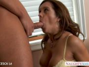 Busty Francesca Le gives blowjob and gets ass fucked