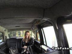 British babe with long legs fucks in cab