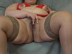 Thick girl masturbates her hairy pussy sex toy
