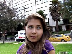 Girl In Purple Shirt Gets Daring And Fucks Outside