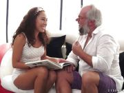 Sweet brunette girl getting fucked by an older man