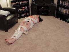 Girlfriend becomes duct tape mummy