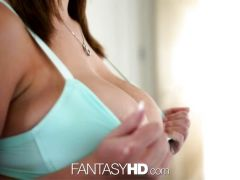 FantasyHD Blonde sucks dildo until she gets fucked