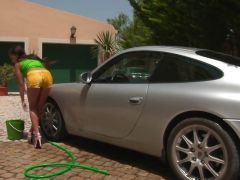 Awesome Cosette Ibarra gets dirty washing this car