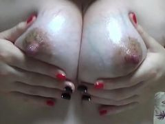 Cum on my big oiled milky bouncing tits JOI
