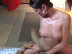 Flexible MILF does striptease and wild blowjob