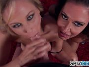 Jessica Jaymes and Julia Ann sucking cock