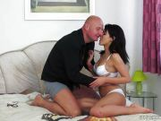 Hot brunette girls gets fucked by an older cock