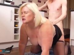 AgedLove Blonde granny is fingered andfucked by young man