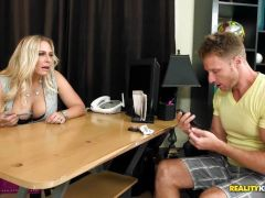 Big blonde busty Angel Allwood shows her employee whose boss