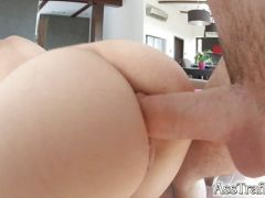 Blonde babe fucked in her ass