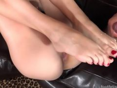 Alexa Grace Uses Her Pretty Feet On A Cock That Ejaculates