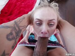 Sexy blonde Lizzie Bell sucking dick